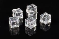 Cubetti di ghiaccio con le gocce di acqua sui precedenti neri con le riflessioni immagine stock libera da diritti