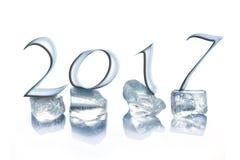 2017 cubetti di ghiaccio isolati su bianco Immagine Stock Libera da Diritti