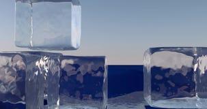 Cubetti di ghiaccio sopra una bandiera europea stock footage