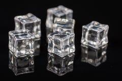 Cubetti di ghiaccio sui precedenti neri con le riflessioni immagini stock