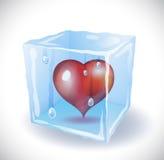 Cubetto di ghiaccio con cuore Fotografia Stock Libera da Diritti