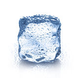Cubetto di ghiaccio con il primo piano delle gocce di acqua isolato Fotografie Stock