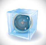 Cubetto di ghiaccio con l'orologio Fotografie Stock Libere da Diritti