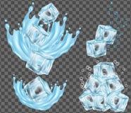 Cubetto di ghiaccio ed acqua che spruzzano l'illustrazione di vettore illustrazione vettoriale