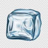 Cubetto di ghiaccio trasparente nei colori blu Fotografie Stock Libere da Diritti