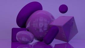 Cubez le fond pourpre-violet abstrait minimal 3d de forme blanche géométrique de podium Photographie stock libre de droits
