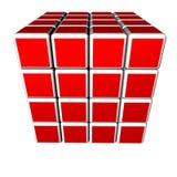 cubi 3d nel colore rosso ed isolati su una priorità bassa bianca Fotografia Stock Libera da Diritti
