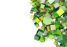 cubi 3d nel verde multiplo Fotografia Stock