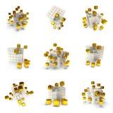 Cubi astratti 3d messi Fotografia Stock