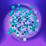 Cubi astratti nello spazio di rosa di rotazione rappresentazione 3d Immagini Stock