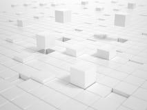 Cubi bianchi che sviluppano una piattaforma Fotografia Stock