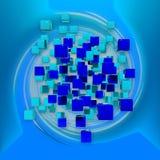 Cubi blu astratti nello spazio del blu di rotazione rappresentazione 3d Immagine Stock