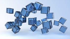 Cubi blu di vetro nell'aria Fotografia Stock