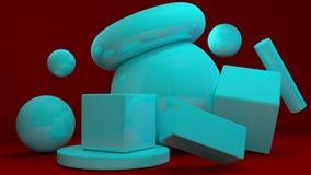 Cubi caotici blu su fondo rosso 3d rendono l'illustrazione Fotografia Stock Libera da Diritti