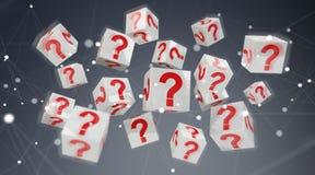 Cubi con i punti interrogativi della rappresentazione 3D Fotografia Stock Libera da Diritti
