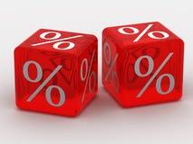 Cubi con le percentuali Fotografie Stock