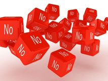 Cubi con un nessun, immagini 3D illustrazione di stock