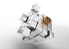 Cubi d'argento con un oro Fotografia Stock Libera da Diritti