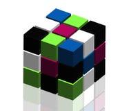 cubi 3D su fondo bianco Fotografie Stock