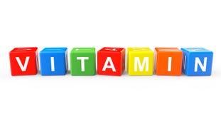 Cubi del giocattolo come segno della vitamina Fotografie Stock Libere da Diritti
