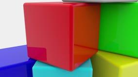 Cubi del giocattolo su bianco stock footage