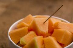 Cubi del melone di recente tagliato Fotografie Stock Libere da Diritti