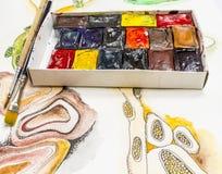 Cubi dell'acquerello Immagini Stock