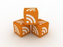 cubi dell'icona di 3D RSS Fotografia Stock Libera da Diritti