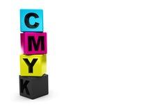 Cubi della gamma di colori di Cmyk Fotografia Stock Libera da Diritti