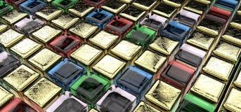 Cubi della gemma e dorati Immagini Stock