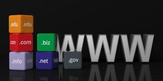 cubi della rappresentazione 3d con i Domain Name su un fondo nero Fotografia Stock