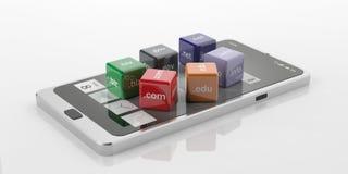 cubi della rappresentazione 3d con i Domain Name su uno Smart Phone Immagine Stock Libera da Diritti