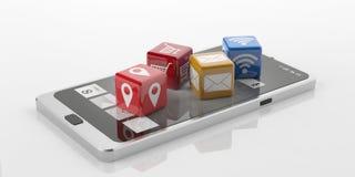 cubi della rappresentazione 3d con i simboli di tecnologia su uno Smart Phone Immagini Stock