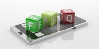 cubi della rappresentazione 3d con il FAQ di parola su uno Smart Phone Fotografia Stock Libera da Diritti