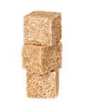Cubi dello zucchero bruno Fotografie Stock Libere da Diritti