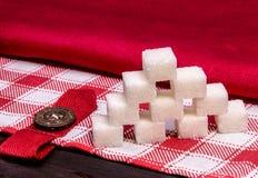 Cubi dello zucchero raffinato di bianco Immagine Stock Libera da Diritti