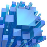 Fondo di cristallo blu dell'estratto del cubo Immagini Stock Libere da Diritti