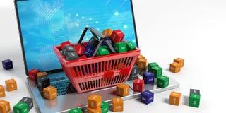 Cubi di Domain Name in un cestino della spesa illustrazione 3D Immagini Stock
