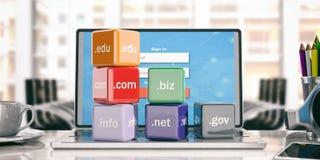 Cubi di Domain Name in un fondo dell'ufficio illustrazione 3D Fotografie Stock Libere da Diritti