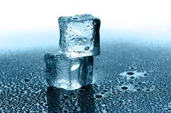 Cubi di ghiaccio bagnati Fotografie Stock