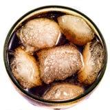 Cubi di ghiaccio in cola da sopra Fotografia Stock Libera da Diritti