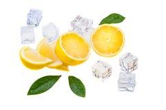 Cubi di ghiaccio, delle fette e delle metà freddi di limone succoso fresco e luminoso con le foglie verdi su un fondo bianco immagine stock