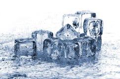 Cubi di ghiaccio di fusione in pioggia fotografia stock libera da diritti