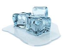 Cubi di ghiaccio isolati su priorità bassa bianca Fotografie Stock Libere da Diritti