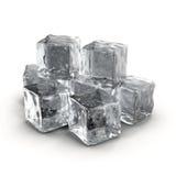 Cubi di ghiaccio su priorità bassa bianca Immagini Stock