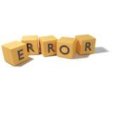 Cubi di legno con l'errore Immagini Stock Libere da Diritti