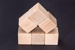 Cubi di legno gialli vuoti Immagine Stock Libera da Diritti