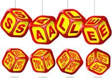 Cubi di vendita Fotografia Stock Libera da Diritti