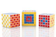 Cubi differenti di puzzle Immagine Stock