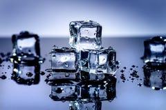 Cubi ghiacciati che si fondono su una tavola blu con la riflessione Acqua Fusione del ghiaccio Immagine Stock Libera da Diritti